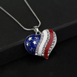 American Flag Heart Pendant with Necklace